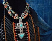 7 Directions Southwest double cross necklace, stamped & signed sterling, turquoise, artisan crafted beads, one of a kind