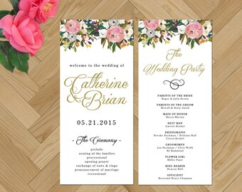Blush and Gold Wedding, Printable Wedding Program, Calligraphy Wedding Program, Vintage Wedding, DIY Wedding