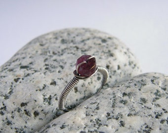 Pink Tourmaline Ring, Sterling Silver, Spiritual Stone Jewelry, Wire Wrapped Ring Size 6.5