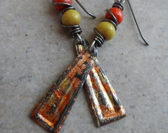 Ray of Sunshine ... OOAK Artisan-Made Pewter, Enameled Copper and Sterling Silver Wire-Wrapped Rustic, Boho, Iridescent Earrings