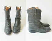 vintage leather cowboy boots • distressed gray leather boots • southwestern boots • grey leather boots western boot cowgirl