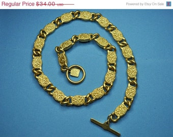 ON SALE ANNE Klein Vintage Rich Satin Gold Swirling Floral Link Princess Length Necklace, Beautiful! #A616