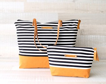Sailor Tote Bag navy blue and white striped with cotton