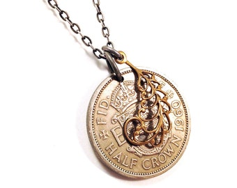 Long coin necklace - British Half Crown with feather charm