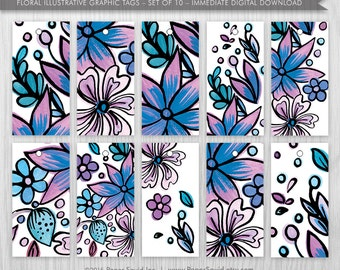 Floral Graphic Tags - Immediate Digital Download, purple & blue Hand Drawn design for parties, birthdays and more, Paper Squid - Item 158B