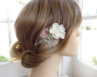 ivory flower hair clip, ivory bridal hair piece, sage green hair accessory, pink hairpiece, flower hair pin, wedding headpiece, flower girl