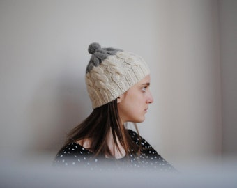 Hand knit Wool Beanie, White and Grey Beanie, Wool Hat, Bobble Hat