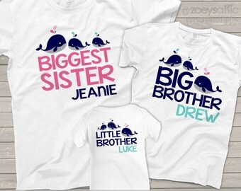 matching brother sister sibling shirts set of three matching whale shirts for ANY combination - you choose the wording MBEH1-002-3