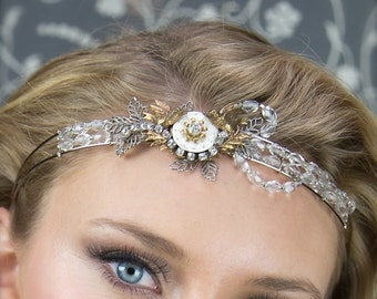 Bridal Headband, Steampunk Headband, Crystal Headband, Beaded Headband, Flapper Headband, Hair Accessory, Hair Ornament,