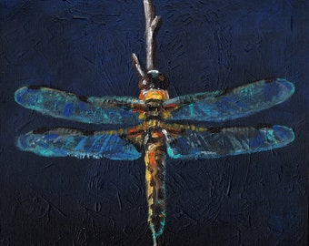 Dragonfly in the dark - Insects- Original acrylic painting  Home Decor / wall art / original painting /art painting-canvas wall art