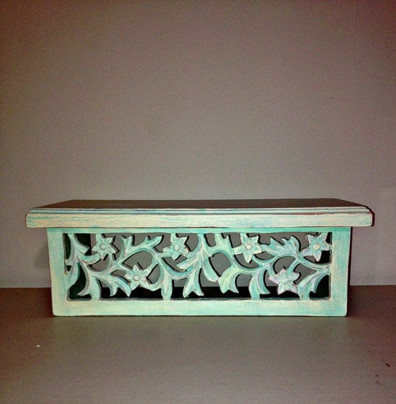 shabby chic decorative wall shelf upcycled by gagirlnaturals. Black Bedroom Furniture Sets. Home Design Ideas