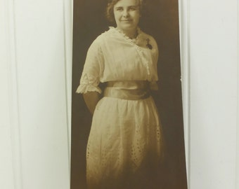Edwardian Woman with Ribbon Sash, 1900s Found Photograph Lovely Lady in Lace Dress