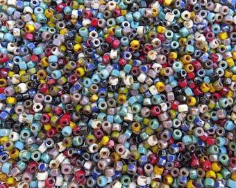 6/0 (1.6mm hole) Opaque Bohemian Gyspy Picasso Mix Czech MATUBO Pressed Glass Seed Beads 10 Grams (CS128)