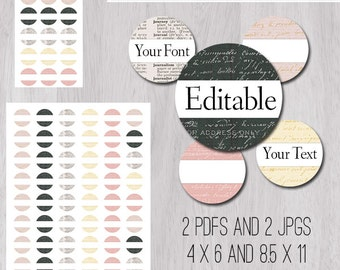 """Words Vintage Dictionary Letter Editable PDFs and JPGs 1 Inch 25mm Circle Bottle Cap Image 1"""" in 4x6 and 8.5x11 Digital Collage Sheet"""