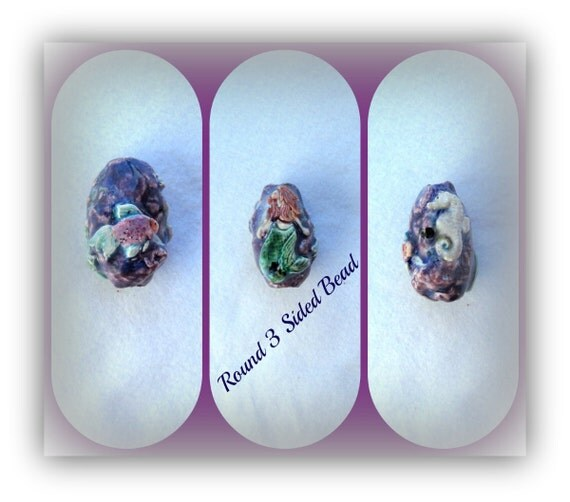 Mermaid bead, Focal Bead, Ceramic bead, handmade bead,  - Purple bead,   #17