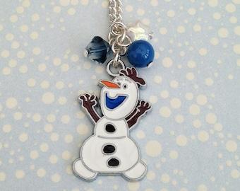 Frozen Olaf Snowman Charm Necklace
