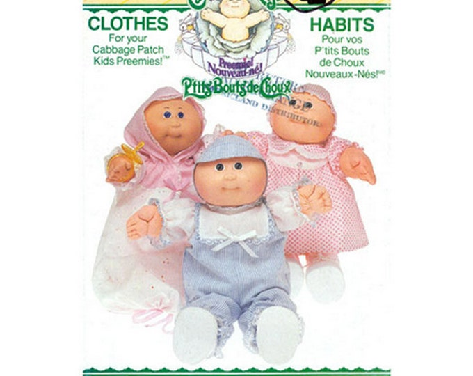Cabbage Patch Kid Preemie Clothes Pattern Butterick 6981 Romper Dress Panties Bunting Hat
