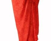 Beach Sarong Wrap Skirt Women's Swimsuit Cover Up Pareo Wrap Red & Orange Batik Sarong Skirt Womens Swimwear - Colorful Fall Beach Skirt