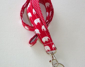 Lanyard  ID Badge Holder - Lobster clasp and key ring - design your own - white elephants red - red pin dots - two toned double sided