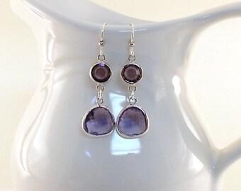 Tanzanite and Silver Earrings - Purple Earrings - Silver Earrings - Antique Silver Earrings - Wire Earrings -Long Earrings -Elegant Earrings