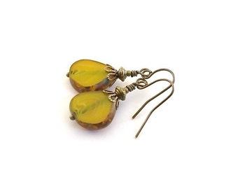 Small Golden Nugget Earrings - Czech Glass Earrings - Antique Brass Earrings - Wire Earrings - Czech Glass Jewelry - Teardrop Earrings -Gold