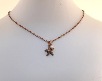 Little Girl Starfish Necklace -  Antique Copper Starfish - Cream Glass Pearl Necklace - Child Size Necklace - Children's Jewelry - CH012