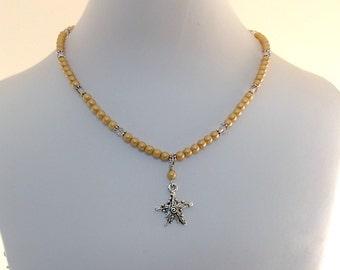 Amber Gold Starfish Necklace - Little Girl Necklace - Matte Czech Glass Necklace - Silver Starfish Necklace - Swarovski Necklace - CH006