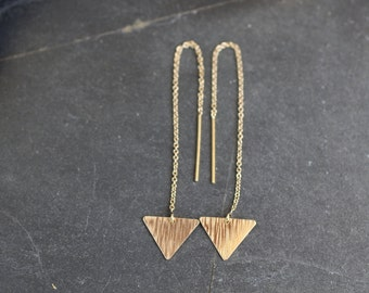 triangle earrings, gold ear threaders, silver triangle earrings, simple earrings, delicate earrings, dainty earrings, geometric, E24