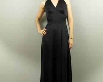 Vintage 70's Goddess Black Halter Maxi Dress S