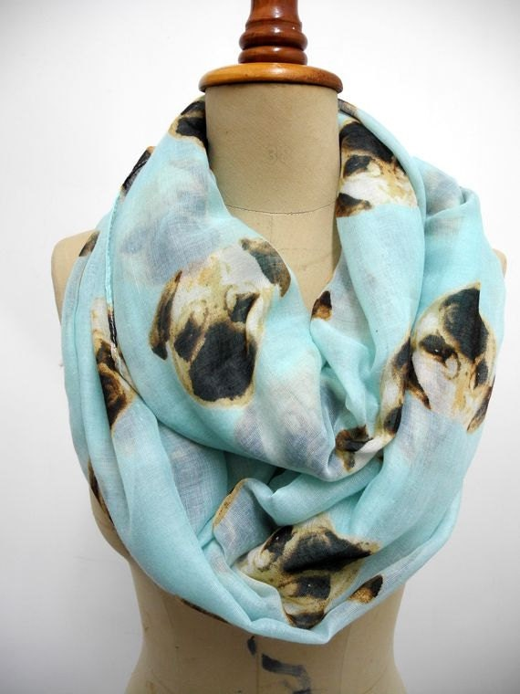 pug infinity scarf scarf animal printed scarf by