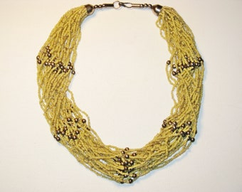 Vintage Yellow Glass Seed Bead Necklace (N-2-4)