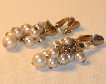 Vintage Lewis Segal Gold Tone White Faux Pearl Dangling Clip Earrings (E-1-3)