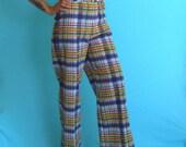 vintage 70's high waist plaid pants // womens plaids //  seersucker pants // summer plaid pants