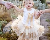 Gold Birthday Tutu Dress, Baby Girls Champagne Flower Girl Dress Outfit