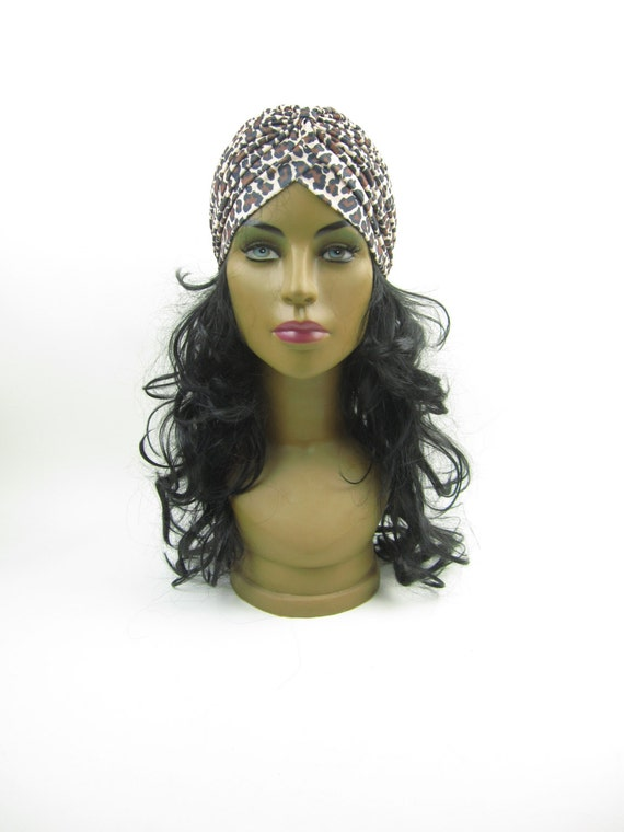 leopard print hair style indian style leopard print stretchable turban hat hair 2791