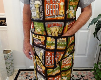 MEN'S CHEFS APRON: Unisex, Beer lovers / barbacue/ chef apron, generous sized to fit most individuals, Beer sayings, Two pockets