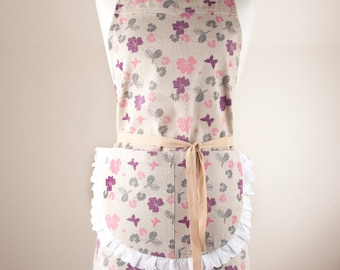 Cotton/Linen  Apron, Full Apron. 50/50 Cotton/Linen. Made by Linen and Tailor.