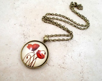Red Poppy Necklace, Art Pendant, Red Flower Necklace, Poppy Jewelry, Remembrance Jewelry, Large Pendant, Poppies Pendant Necklace, Poppy Art