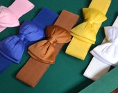 Bow cinch belt ,Wide elastic stretch corset belt, cinch belt with big bow,pink belt,blue belt ,white belt  ,24 inch to 29 1/2 inch