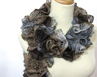 Sale Ruffle Scarf, Brown Scarf, Knit Scarf, Hand Knit Scarf, Women Scarf, Fashion Scarf, Christmas In July