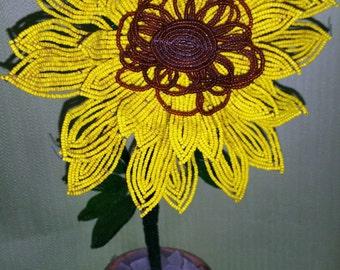Large French Beaded Sunflower With Pot  Beaded and Wire Flowers