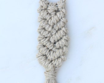 Linen Macrame Keychain