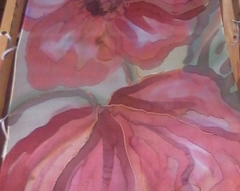 Floral silk wall hanging/ hand painted silk scarf with poppies in shades of red, tomato, light yellow, sage green. Watercolor on silk.