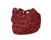 BOTTEGA VENETA Vintage Handbag Burgundy Suede Butterfly Slouchy Tote - AUTHENTIC -