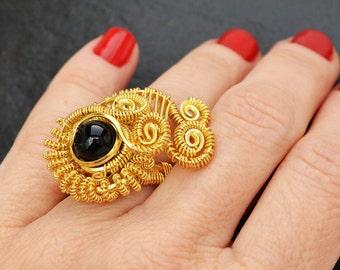 Goldring mit schwarzem stein  Goldring mit stein | Etsy
