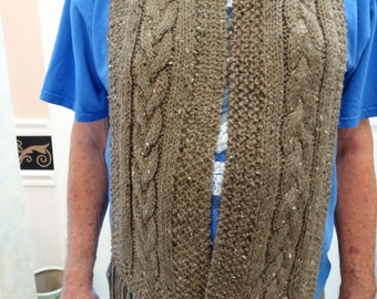 """BROWN HEATHER SCARF ,Wool / acrylic, long, 68 inch,5"""" fringe[73"""" total] brown heather wool blend , cable stitch, hand knitted,with fringe"""