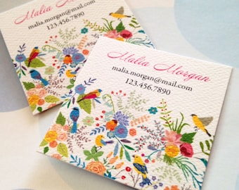 Bird Business Cards, Custom Business Cards - Set of 48