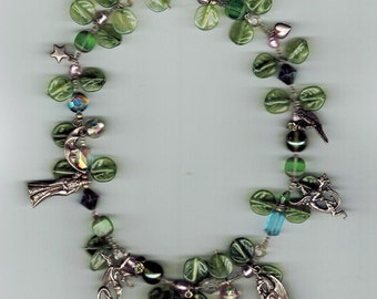 "16"" CHOKER  Boho Fairy Glass beads and Sterling Silver Charms"