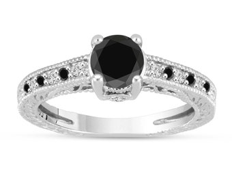 Black And White Diamonds Engagement Ring 14K White Gold Vintage Antique Style Engraved 1.20 Carat Certified Handmade