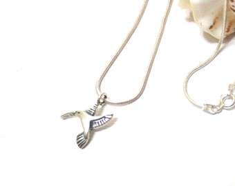 Hummingbird Charm Necklace, Sterling Silver Rope Chain, 16-Inch Hummingbird Necklace, 18-Inch and 20-Inch Silver Chain Available